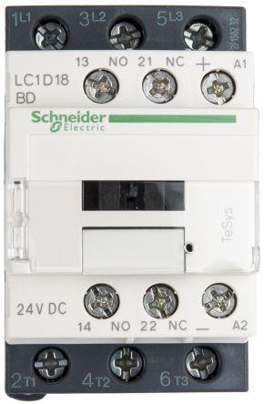 Schneider LC1D18BD Contactor 18A 24V DC